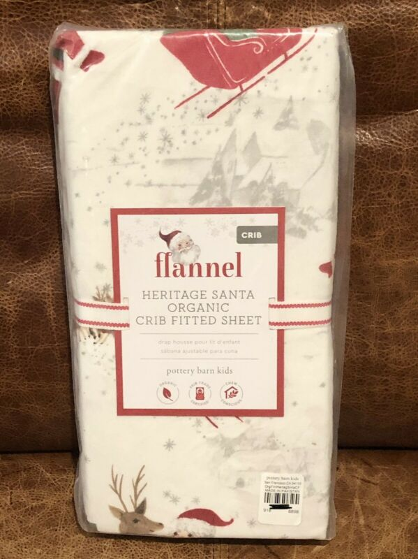 NEW Pottery Barn Kids Heritage Santa Flannel Holiday Organic Crib Fitted Sheet