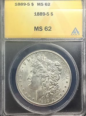1889 S SAN FRANCISCO SEMI KEY MORGAN DOLLAR PLEASING ANACS  GRADED  MS62