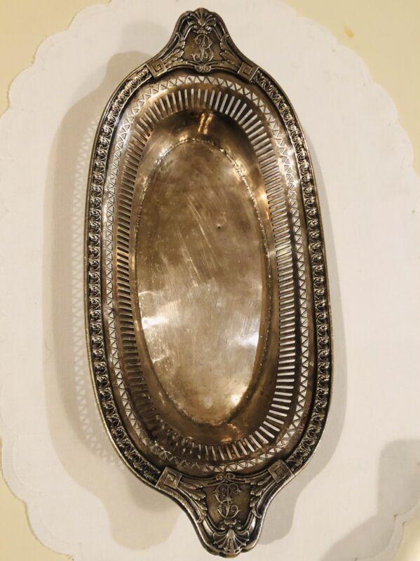 Vintage Biltmore Hotel Pierced Bread Tray / Basket Silver Plate Gorham By 1924