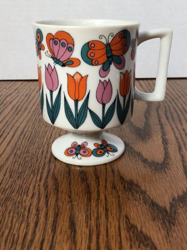 Vintage 60s Pedestal Footed Coffee Mug Retro Butterflies Tulip Flowers DD Japan