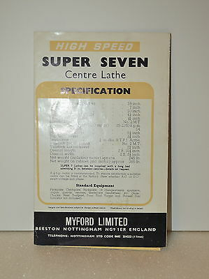 Myford High Speed Super Seven 3 12 Center Lathe Catalog Jrw015