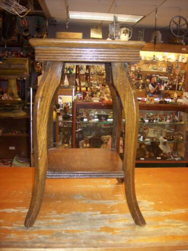 Antique/Vintage Wooden Solid Oak Plant Stand Lamp Side End Occasional Table