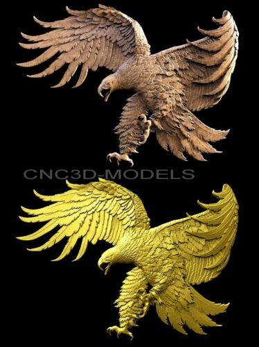 3D Model STL for CNC Router Engraver Carving Artcam Aspire USA Eagle Hunt 6009