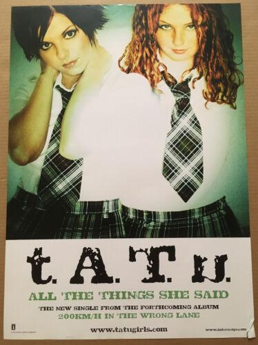 T.A.T. U. Rare 2002 DOUBLE SIDED PROMO POSTER 4 Lane CD 20x28 NEVER DISPLAY tatu