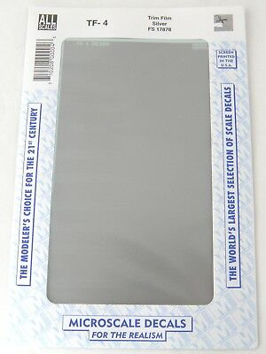 "All Scale Trim Film - Silver - Microscale #TF-4 (Size: approx. 4 1/2"" x 7 1/2"")"