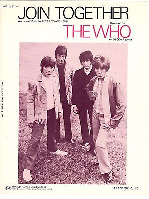 """""""THE WHO-JOIN TOGETHER"""" SHEET MUSIC PIANO/VOCAL/GUITAR W/CHORDS SHEET MUSIC-NEW!"""