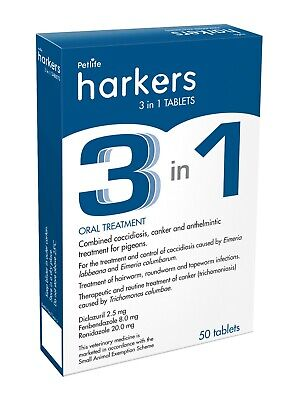 PIGEON Harkers 3 in 1, 50 TABETS Coccidiosis, Canker & Worms in Racing Pigeons