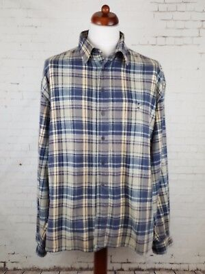 Vtg 1990s Brown Blue Plaid Check Flannel Shirt Skater Boarder Grunge -XL- GY46