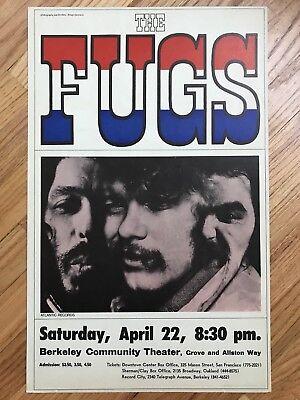 Vintage Original 1967 The Fugs Berkeley Concert Boxing Style Poster EX Rock Roll