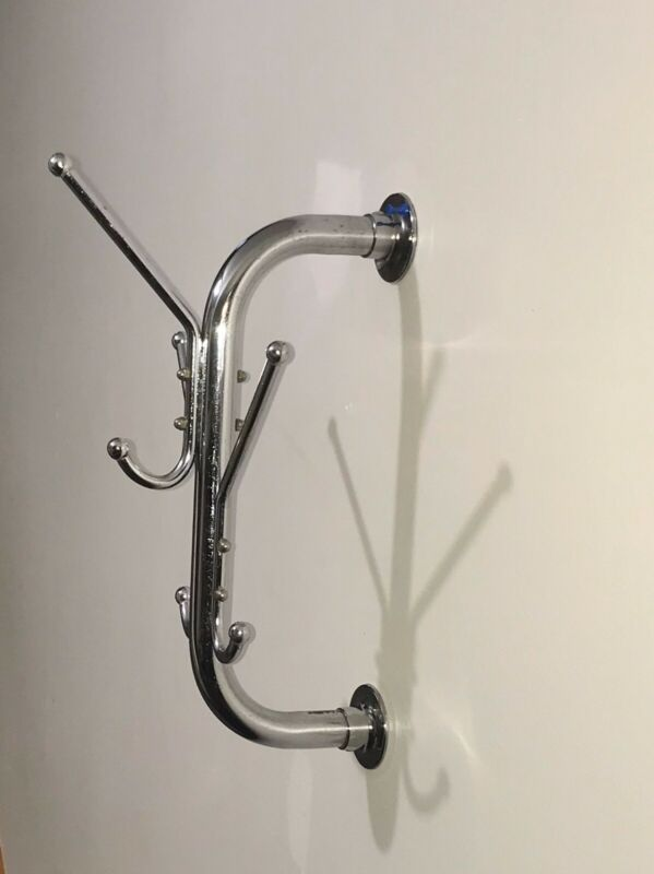 Vintage Barber Tavern Chrome Wall Mount Tubular Coat Hook Hat Rack 6 Peg Hanger