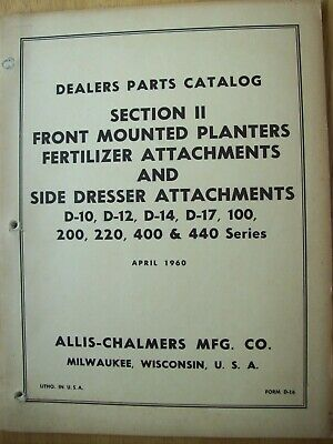 Original Allis Chalmers Section Ii Front Mounted Planters Parts Catalog Manual
