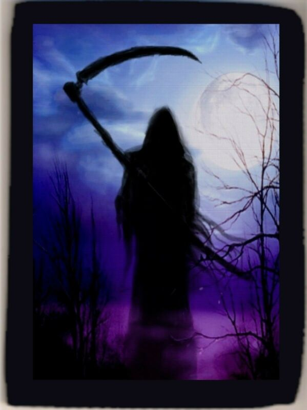 Grim Reaper Moonlight Swamp Mythical Spooky Trifold Wallet Grab Closure NEW