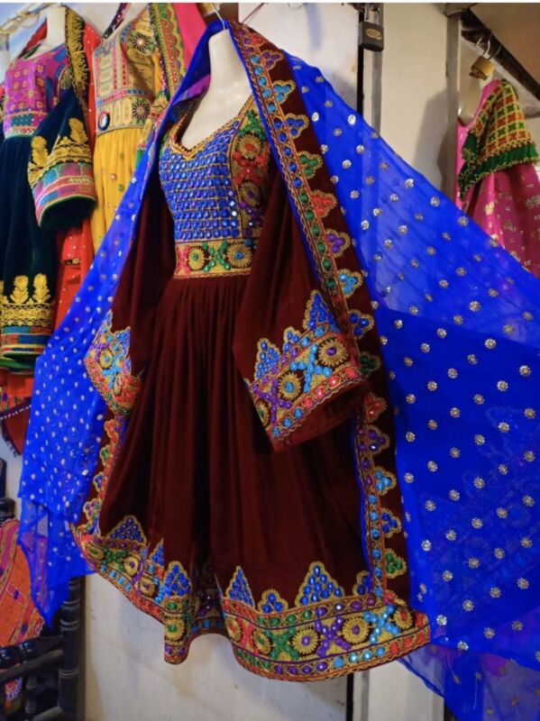 Afghan Kuchi Dress Red Color With Blue Pants N Scarf