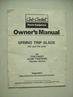 Original Cub Cadet Spring Trip Blade For Home Tractors Operators Manual