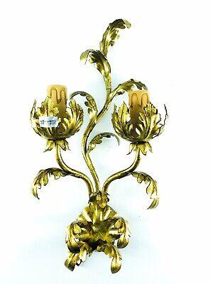 Applique a 2 luci in ferro battuto foglie acanto oro illuminazione classica...