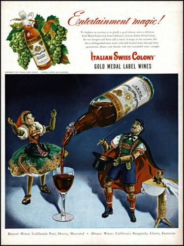 1947 Magician & assistant Italian Swiss Colony Wines vintage art print ad adL25
