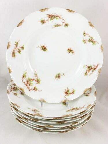 "ANTIQUE SET 9 LARGE 9.5"" RIM SOUP BOWLS HAVILAND LIMOGES FINE CHINA GOLD FLOWERS"