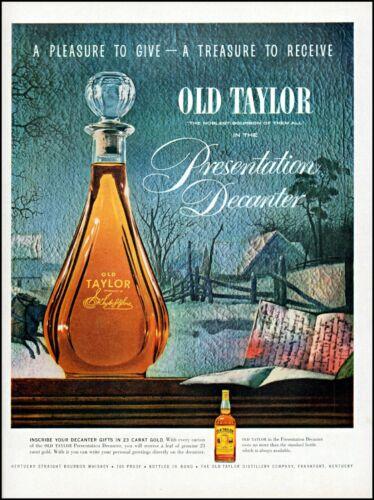 1954 Old Taylor bourbon gold decanter Christmas gift vintage art Print Ad adl32