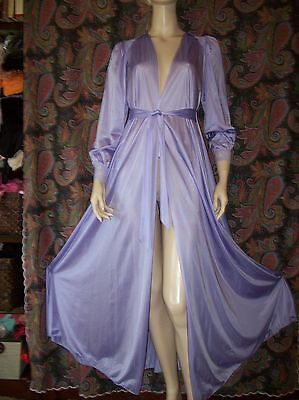 Vintage Olga Silky Nylon Lace Purple Sweep Robe Lingerie M