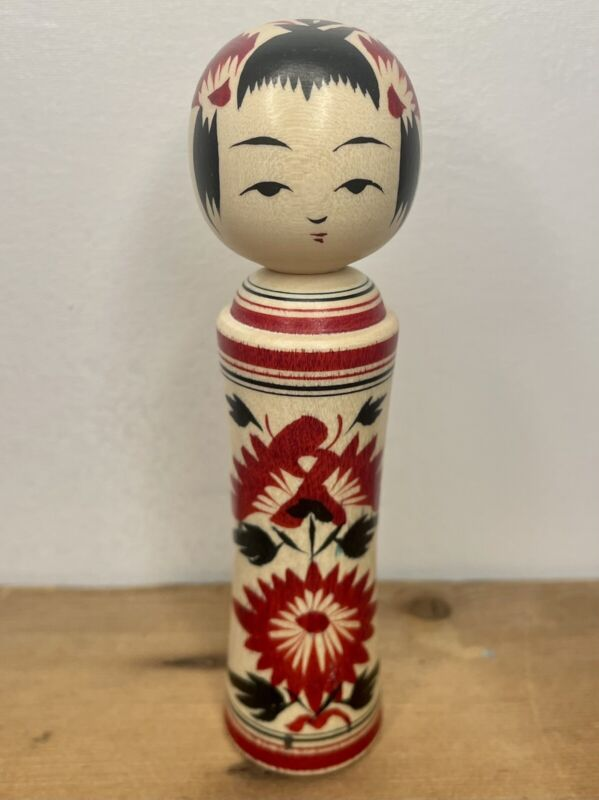"""Vintage Kokeshi 4 1/2"""" Red Black Wooden Hand Painted Japanese Asian Doll EXC"""