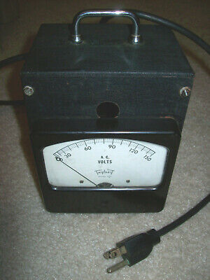 Vintage Triplett 430c A.c. Volts Panel Meter In Test Bench Enclosure 0-150v Ac