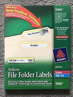 Avery 5966 Yellow File Folder Labels Sealed 1500 Pack Laser Inkjet Printers