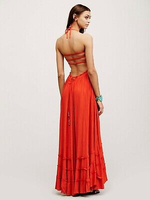 Free People Convertible Camisole Halter Bohemian Maxi Dress Paprika Red Small
