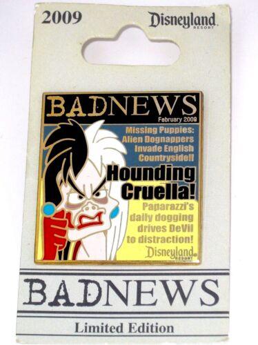 LE Disney Pin Cruella DeVil Villain 101 Dalmatians Bad News Magazine Missing Pup