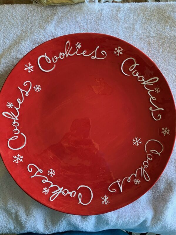 "HALLMARK 14"" RED COOKIES PLATTER CHRISTMAS SNOWFLAKES SERVING DISH COOKIE PLATE"