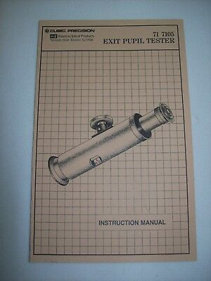 Brunson Ke Cubic Precision Exit Pupil Tester Instruction Manual 71-7105