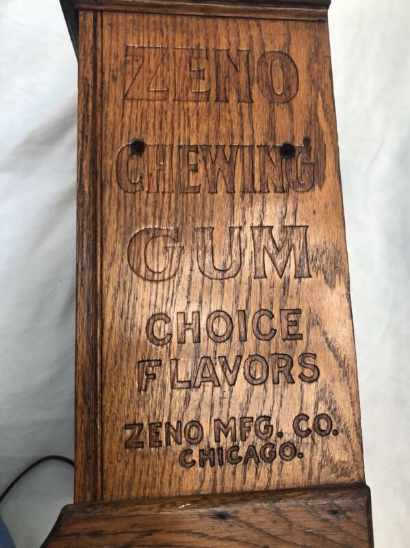 ANTIQUE ZENO STICK CHEWING GUM VENDOR ONE CENT VENDING MACHINE ADVERTISING SIGN