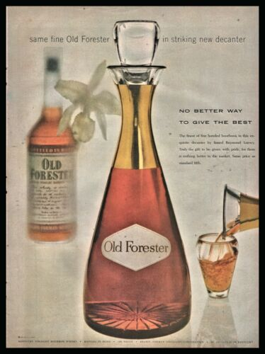 1955 OLD FORESTER Bourbon Whiskey Christmas Decanter by Robert Lowey PRINT AD