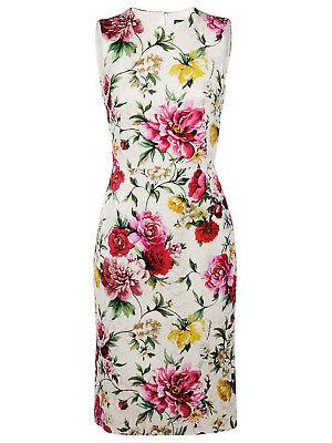 Dolce&Gabbana Floral Print Jacquard Sheath Dress WHITE Size 12 US / 46 IT