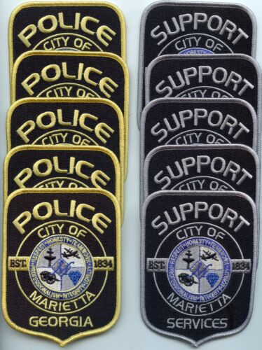 MARIETTA GEORGIA Patch Lot Trade Stock 10 Police Patches SUPPORT & POLICE PATCH