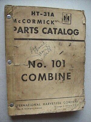 Original International Mccormick No. 101 Combine Parts Catalog Manual Ht-31a