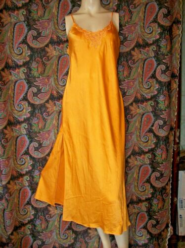 Sunshie Orange 100% Silk Sheath Nightgown Nighty Lingerie 36