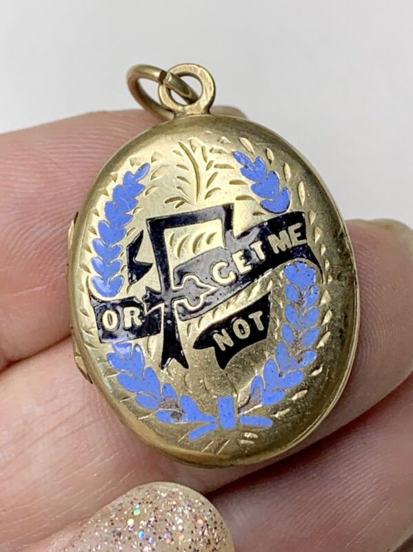 Victorian Forget Me Not Locket, Enamel and Gold Fill, Antique Mourning Jewelry