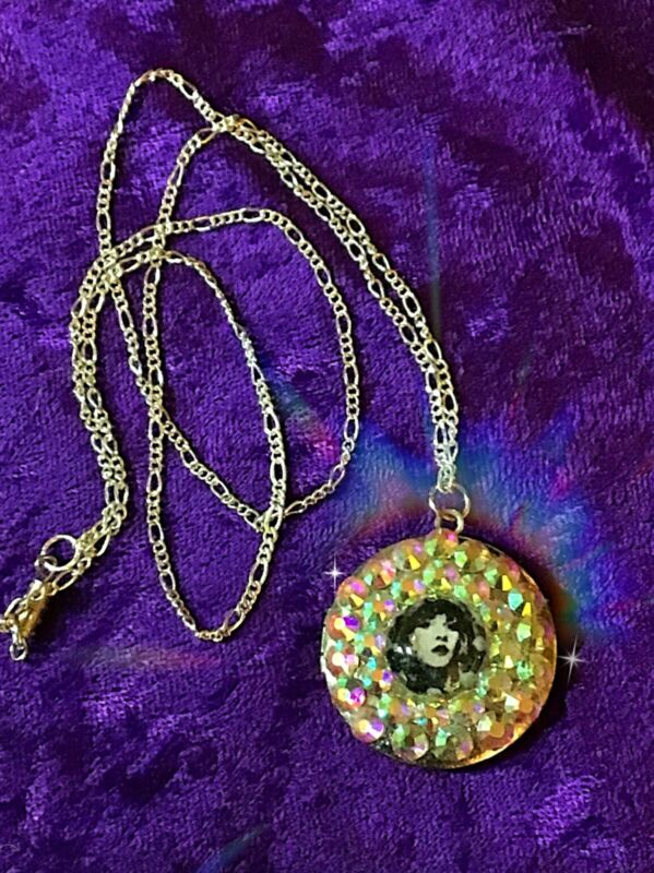 """Stevie Nicks pendant necklace with Swarvorski crystals on long, 24"""" silver chain"""
