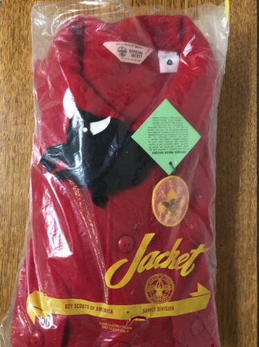 Vintage Boy Scout Official Red Wool Jacket Size 50 New In Package