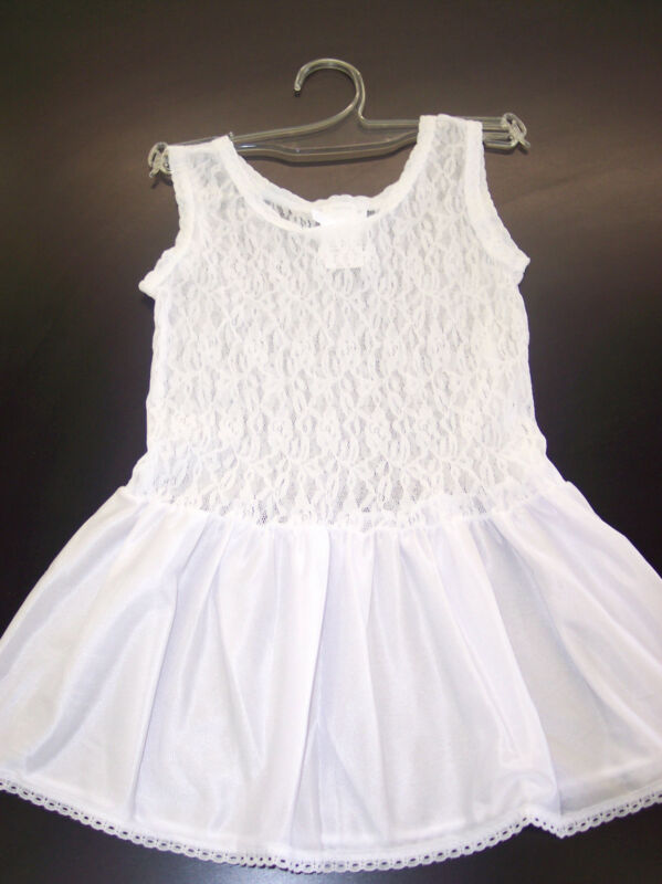 Girls JC Collection White Nylon Stretch Lace Slip Sizes 2T - 16