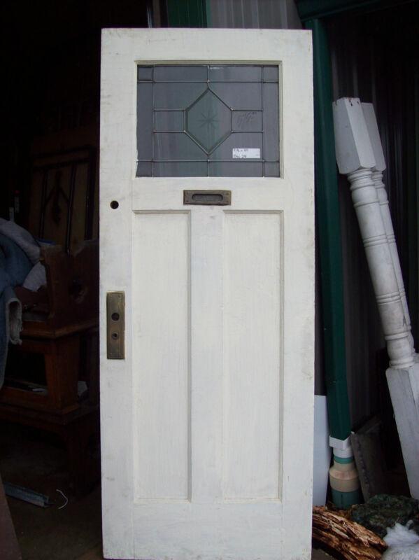 Painted door beveled glass window in top etching  (D 27)