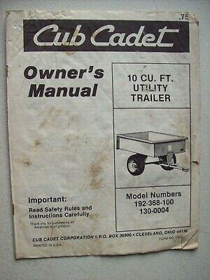Original Cub Cadet 10 Cu. Ft. Utility Trailer Owners Manual