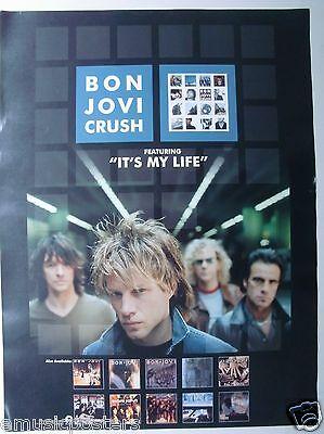 """BON JOVI """"CRUSH - IT'S MY LIFE"""" U.S. PROMO POSTER -Jon & The Band + Album Covers"""