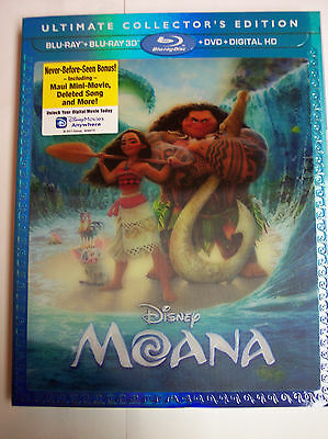 Moana Ultimate Collectors Edition W Slipcover  Blu Ray 2D 3D  Dvd  2017  Usa