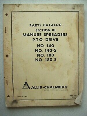 Original Allis Chalmers 140 140-s 180 180-s Manure Spreaders Pto Part Manual