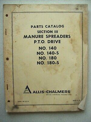 Original Allis Chalmers 140 140-s 180 180-s Manure Spreaders Pto Part Manual