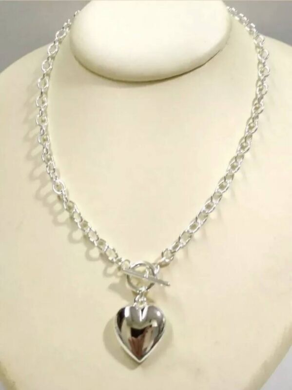 """925 Sterling Silver Cable Chain 14mm HEART Charms Toggle NECKLACES 18"""""""