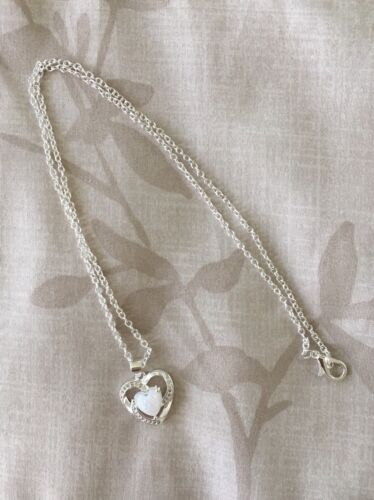 """Women 925 Sterling Silver Plated Faux Opal Heart Cubic Pendant Necklace 18""""N128 Fashion Jewelry"""