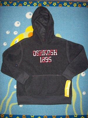 1895 OshKosh B'gosh Hoodie Pullover Youth Unisex Boys Girls Charcoal Fleece   - Oshkosh Fleece Hoodie