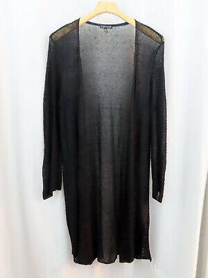 Eileen Fisher Womens Black Open Light Sweater Duster Sz M Medium Hemp Nylon
